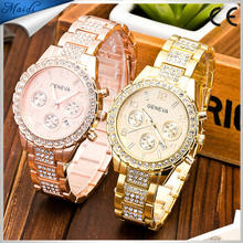 Fashion GenevaWomen Rhinestone Watches Full Steel Casual Analog Quartz Ladies Dress Rose gold Wristwatch GW116