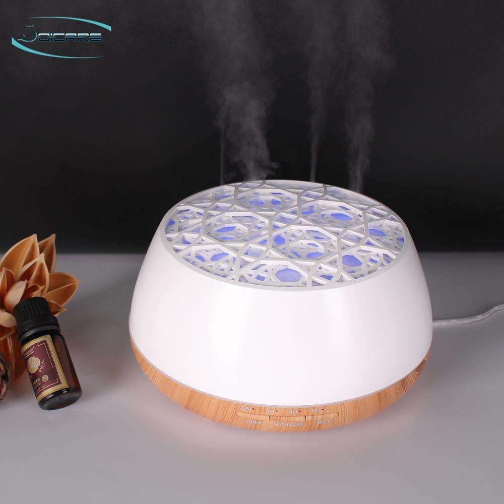 2018 SOICARE 400ml wood grain everlasting big mist ultrasonic aroma diffuser with Bluetooth speaker