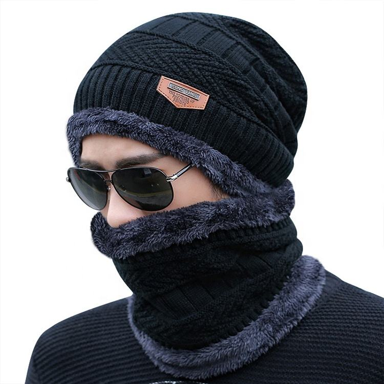 High Quality Customizable Men Double-Layered Thick Beanie Adn Scarf Set Warm Winter Striped Knitted Hat