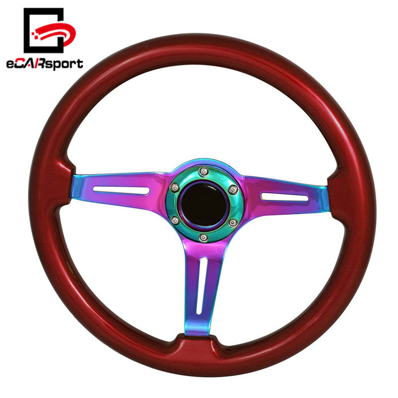 Universal Wood Neon Chrome 6 Bolt 345mm Streak Style Performance Racing Car Steering Wheel