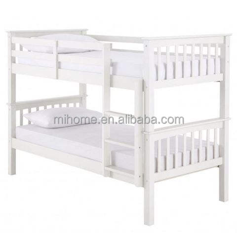 white color multi function wooden bunk bed / double decker bed