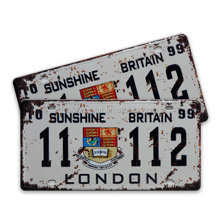 Hot selling!!Embossed Aluminum car License number Plates.