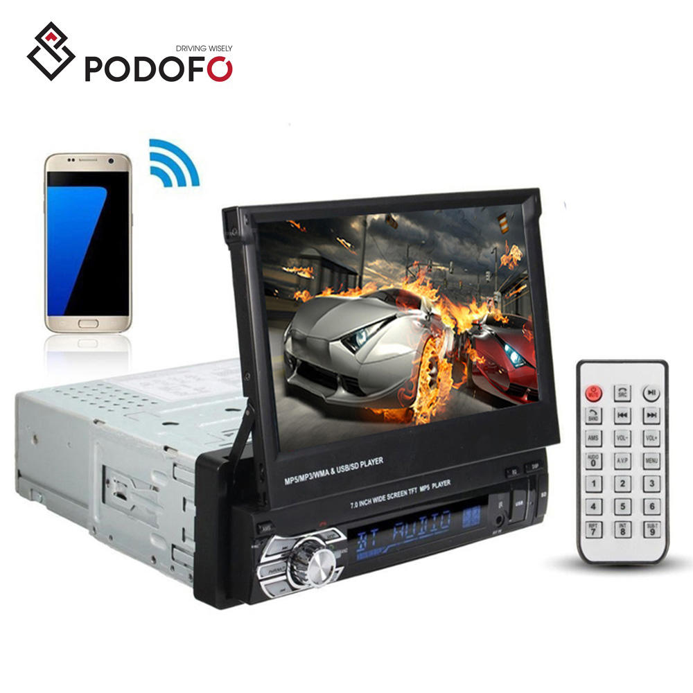 "Podofo Car Stereo Audio Radio BT 1Din 7"" HD Retractable Front Panel Touch Screen Monitor SD FM USB MP5 Player"
