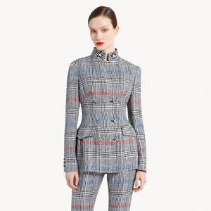 Checked Woman Suit Slim Fit Design Ladies Office Suit Styles Business For Women Formal