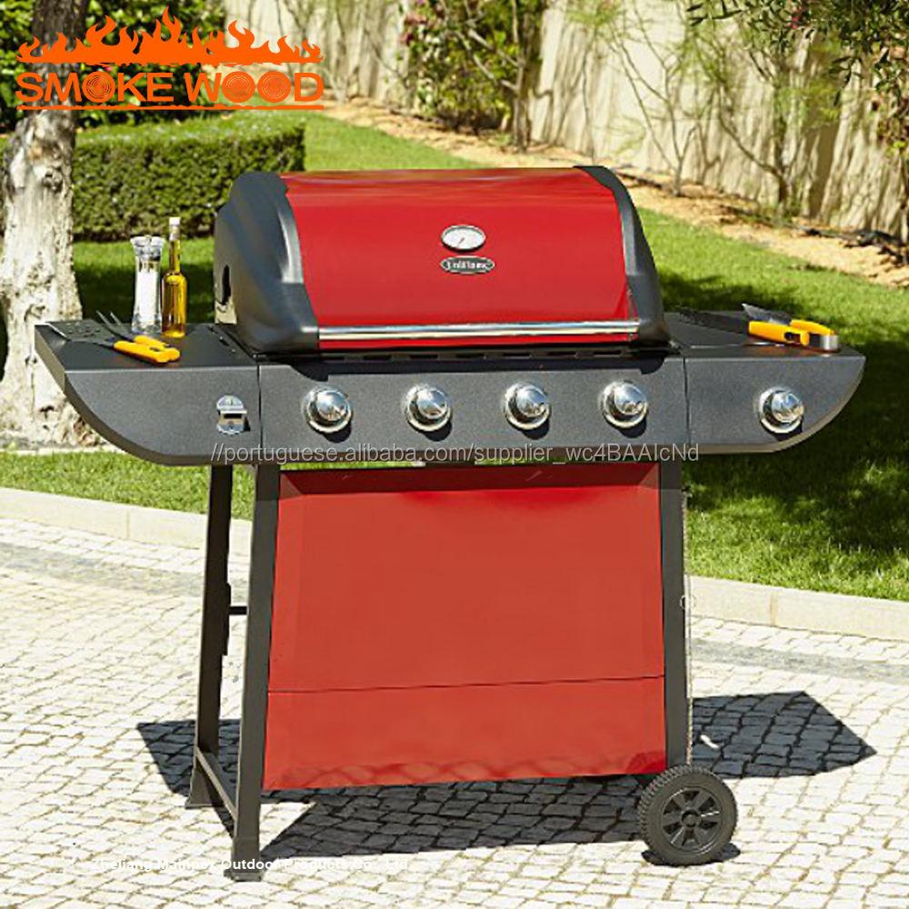 Alta Qualidade Heavy Duty 4 Queimador De Gás PARA CHURRASCO Grill Com o Lado Interior Chama de Gás Para Churrasco Grill