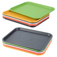 Anti-Slip Plastic Food Tray Restaurant Hotel Bar Tea Cake Bread Plate Food Dish Serving Tray