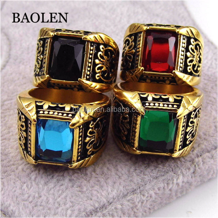 Baolen Brand Jewelry Vintage Antique Gold Crystal Ring For Men Stainless Steel Big Square Stone Finger Ring Male Men Jewelry