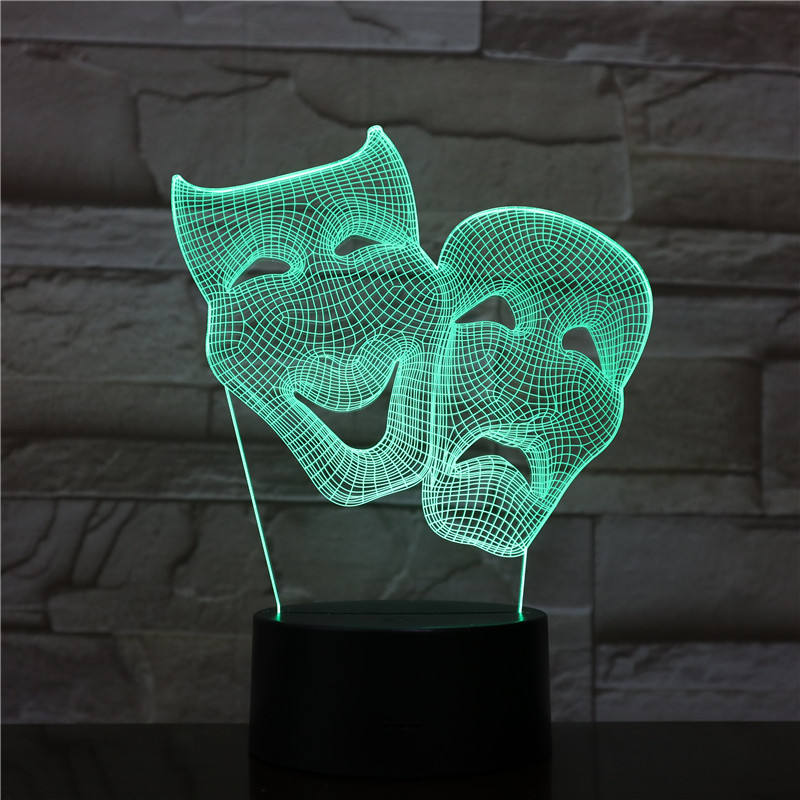 Socove SC3D-307D Halloween Mask 3D Lamp Color Changeable Living Room LED Night Lamp