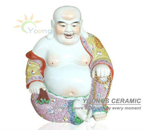Luxury Asian Hand Painted Ceramic Tall Buddha Statues