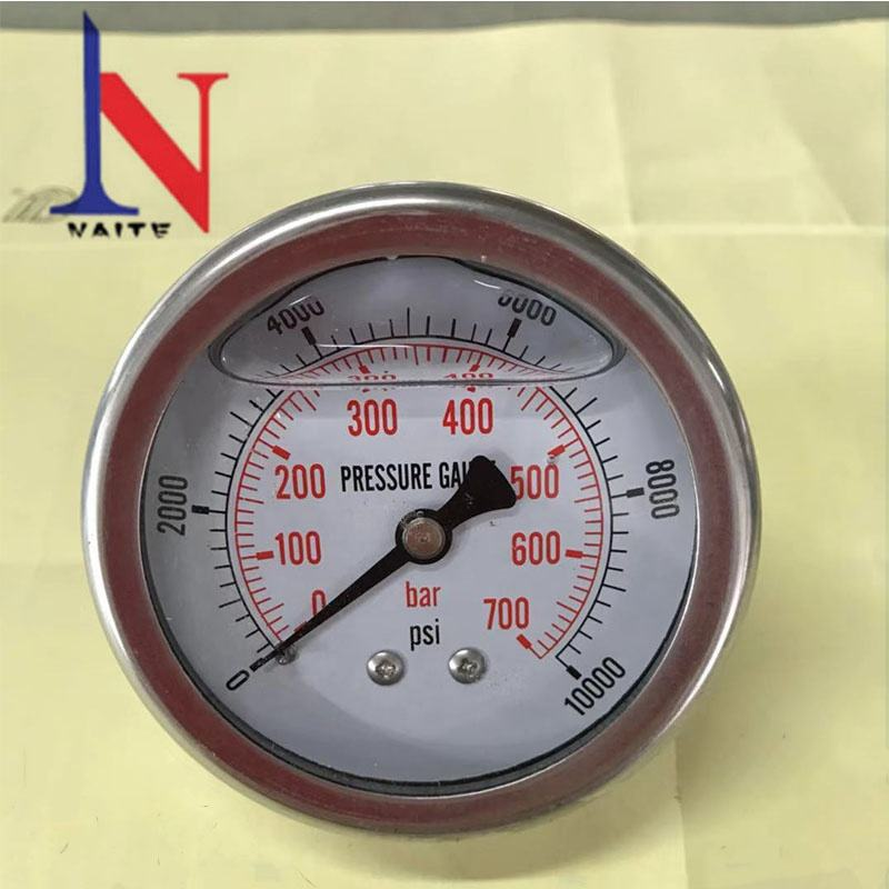 700Bar Stainless Steel Case Brass Wetted Parts Hydraulic Pressure Gauge with Rear Entry