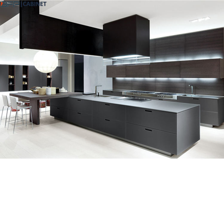 Luxury Big Kitchen Design 2 Pac Matt Finish Base Cabinet Wood Hanging Cabinet