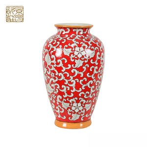 Desk red decorated vase ceramic chinese reproduction vase