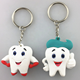 Innovative pvc keychain 3D cartoon shape OEM custom logo for promotion gift silicone tooth keyring giveaway gift