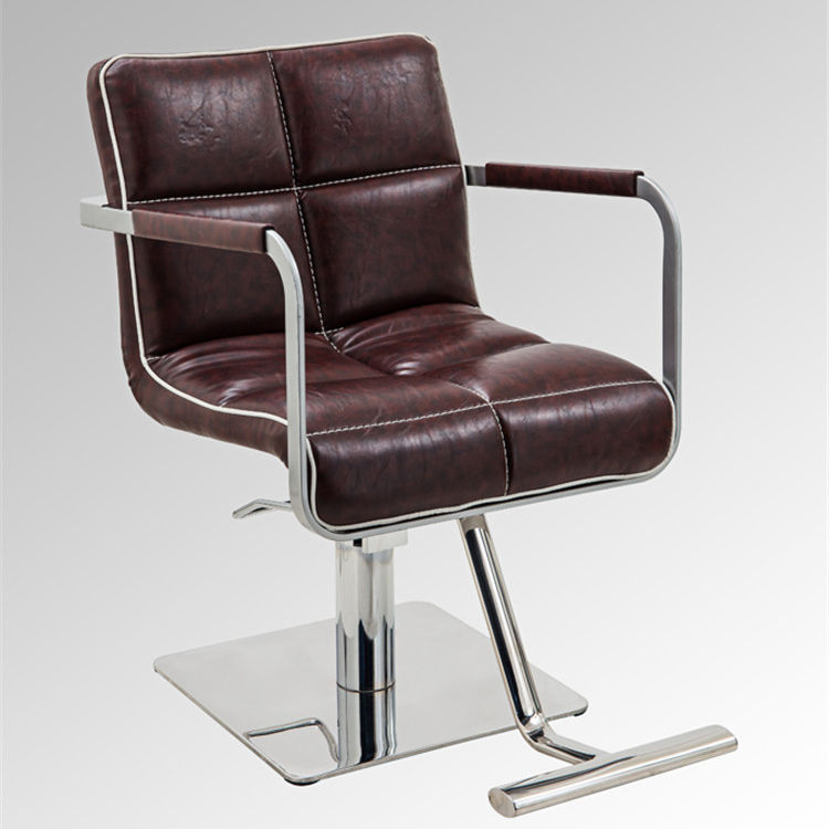 2019 neueste design moderne <span class=keywords><strong>edelstahl</strong></span> basis braun styling <span class=keywords><strong>stuhl</strong></span> für salon