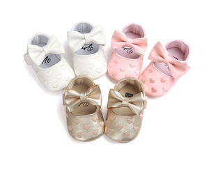2019 Baby First Walker bow-knot Shoes soft leather prewalker baby girl Casual Dress Ballet shoes