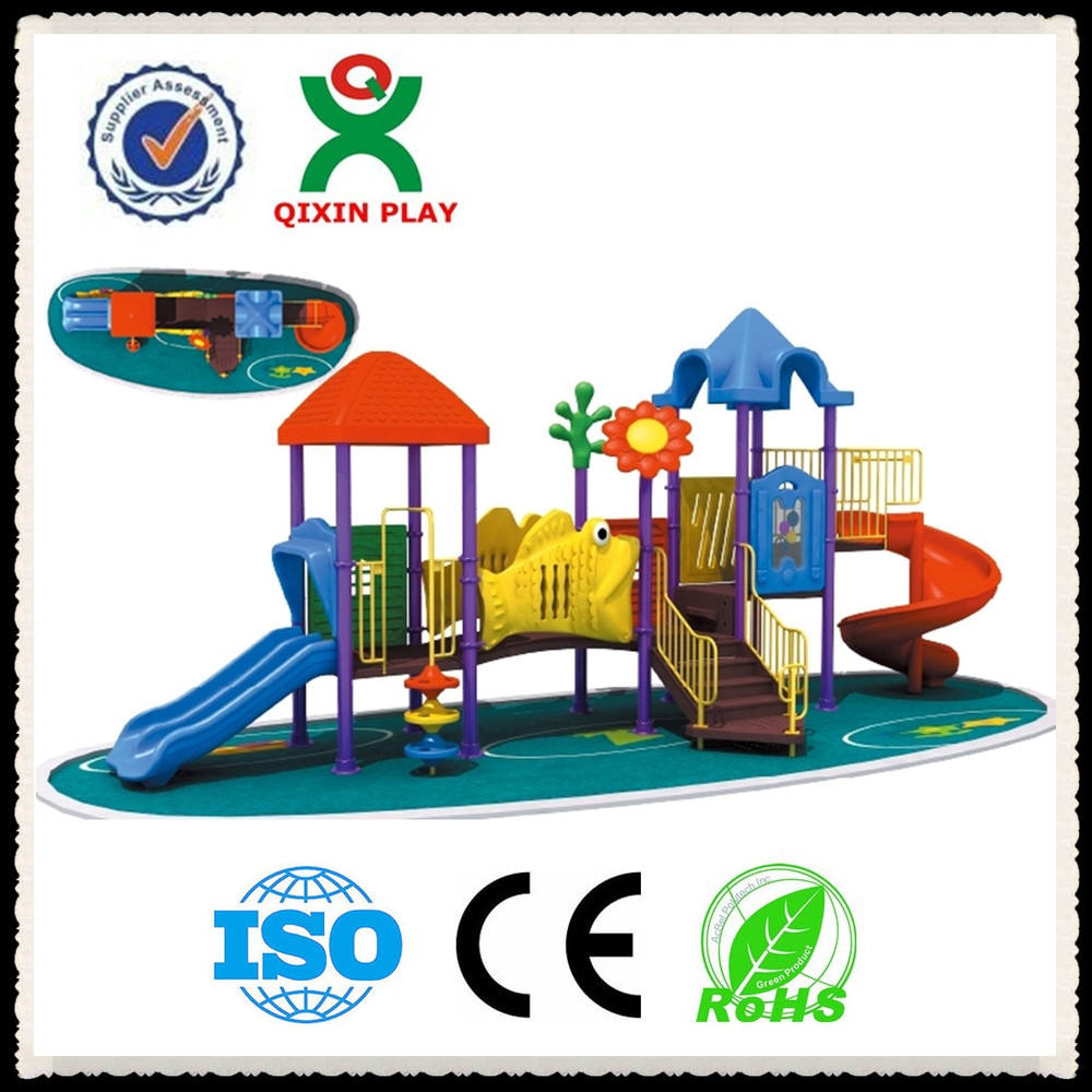 Kids Galvanized Steel Pipe and Plastic Play Station ,Children Outdoor Playground Station (QX-066C)