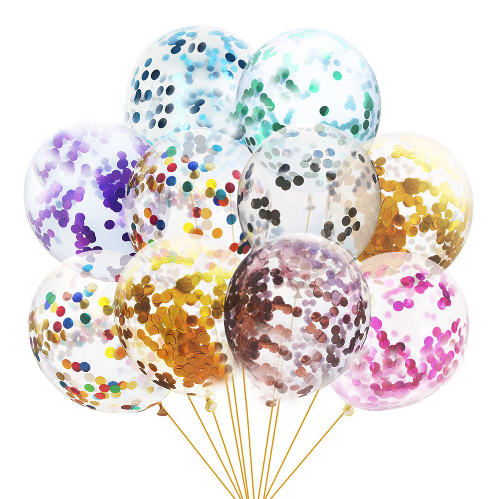 12 inch Valentine'S Day Birthday Party Decoration Supplies Blue Purple Gold Latex Confetti Balloon