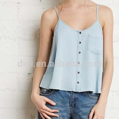 Latest China wholesale fashion Button A word big swing denim halter top