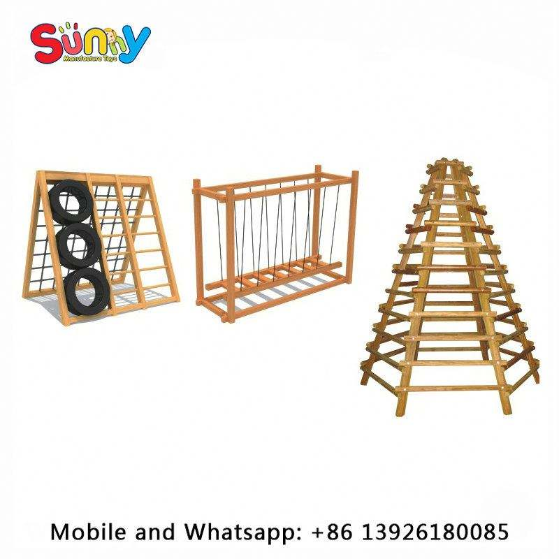 Kids outdoor playsets wooden climber sensory game