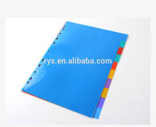 A4 Eco-friendly PP plastic loose-leaf 1-10 colored index divider
