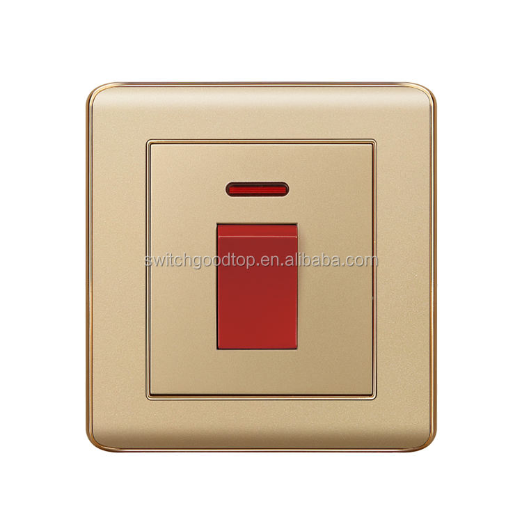 hot selling 45A switch with neon and 20A switch with neon! Top quality Modern New design British Electric wall light switch