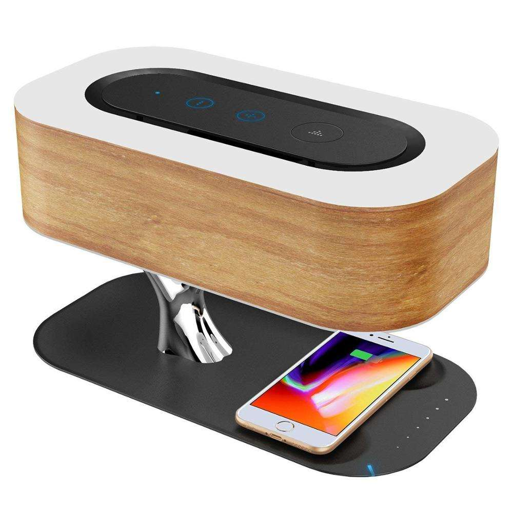 2020 latest gadget new technology LED bedside lamp wireless charging desk lamp speaker portable bluetooth and wireless charger