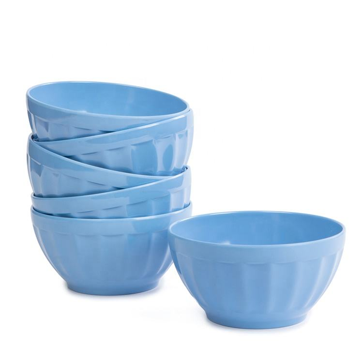 Light blue color super market best selling custom melamine cereal bowls wholesale