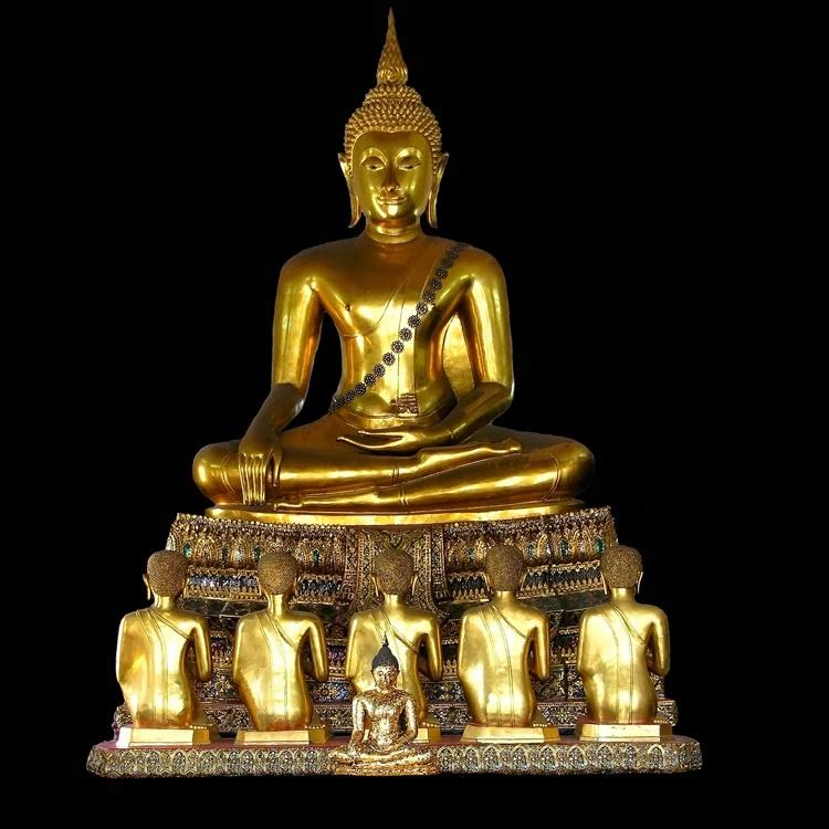 Fengshui Antique Large Bronze Sitting Thai Buddha Sculpture