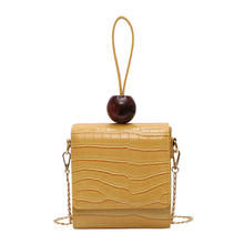 New Styles Fashion Girls stone grain handbag pure color texture shoulder bag square bag crossbody bead bag