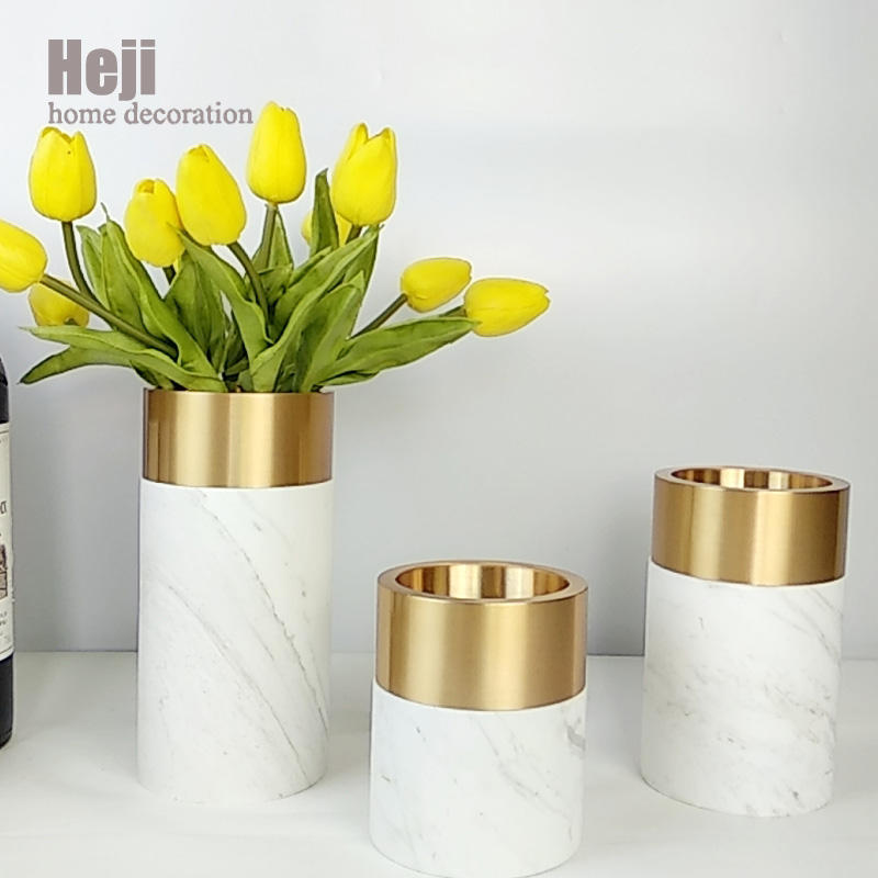 Cheap Modern Pedestal Flower Cylindrical Home Goods Decorative Marble Vase