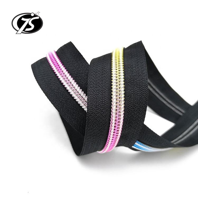 Long Chain Nylon Zipper Wholesale Pulls Nylon Zipper Rolls Fancy Luxury Rainbow Teeth Nylon Coil
