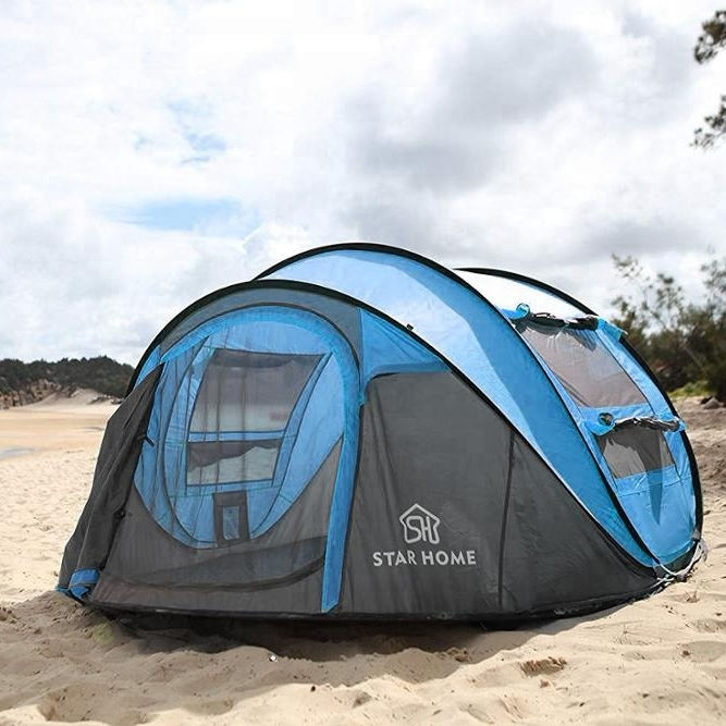 STAR HOME New Waterproof Outdoor Campingテント簡単ポップアップテントピンク