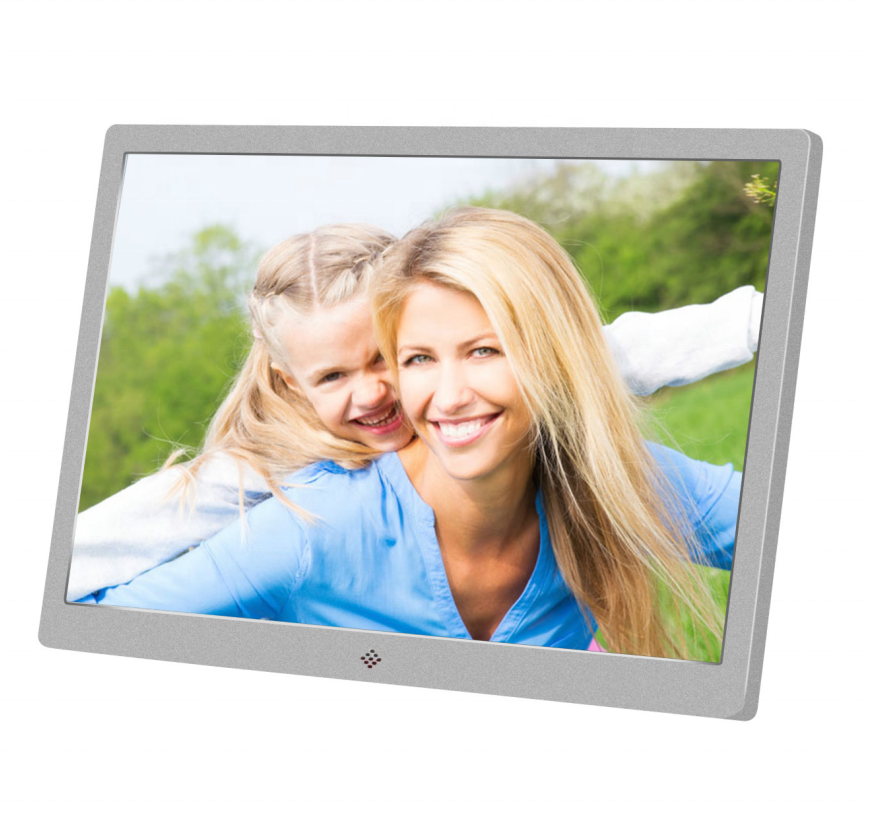 15.4 pollici 1280x80 In Metallo LED Digital Photo Frame con Più A Distanza di IR e Adattatore di Alimentazione Supporto <span class=keywords><strong>video</strong></span>/musica/Foto A Distanza di Controllo