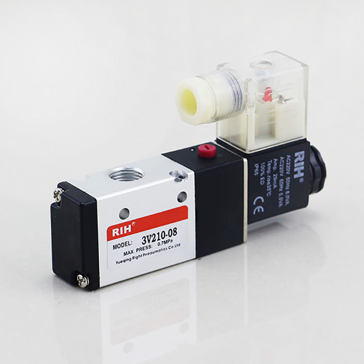 3V210-08 Air Single Coil/Listrik Control Pneumatic Valve AC220V 3 Cara 2 Posisi 3/2 Solenoid Air Operated Valve
