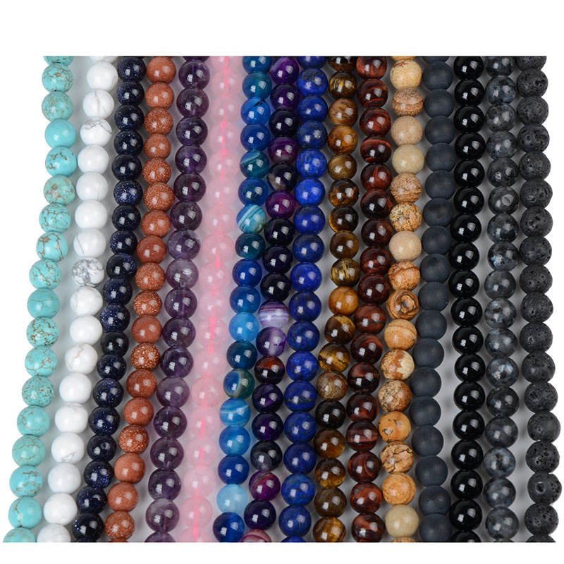 Wholesale Lapis Lazuli Rose quartz Amethyst Agate Tiger Eye Natural Stone Beads for Bracelets Necklace Jewelry Making