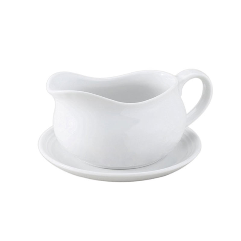 White Gravy Sauce Boat with Saucer Stand
