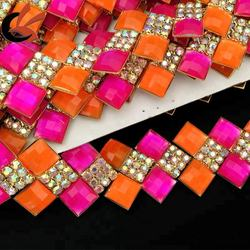 Neon colors rhinestone beaded trim rhinestone chain trims garment decoration
