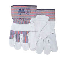 AP-2203 CE EN388 heavy duty leather working gloves with double leather palm of safety glove