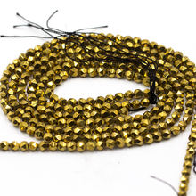 Natural Smooth Gold Plated Hematite Gemstone Faceted Round Loose Beads 4mm For Jewelry Making