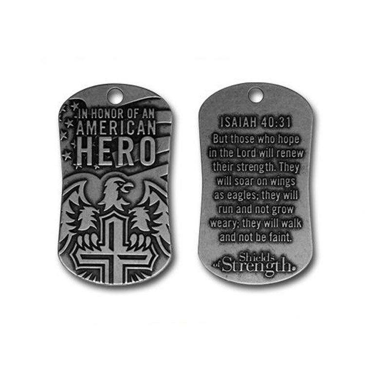 american customized copper stamping antique silver hero award souvenir pendant men metal dog tag