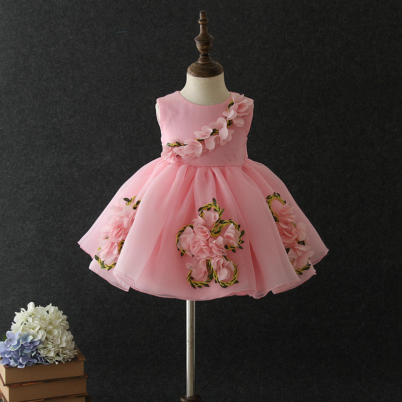 cute girls party princess frocks designs latest party children floral elegant boutique baby dress with high quality