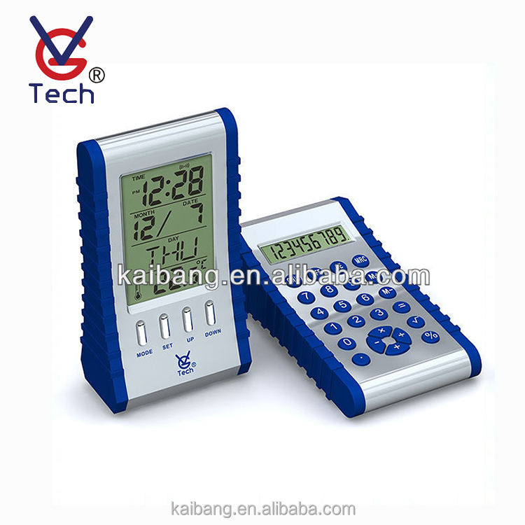 2 Sides Multifunctional Digital Clock With Calculator Suit For Promotion