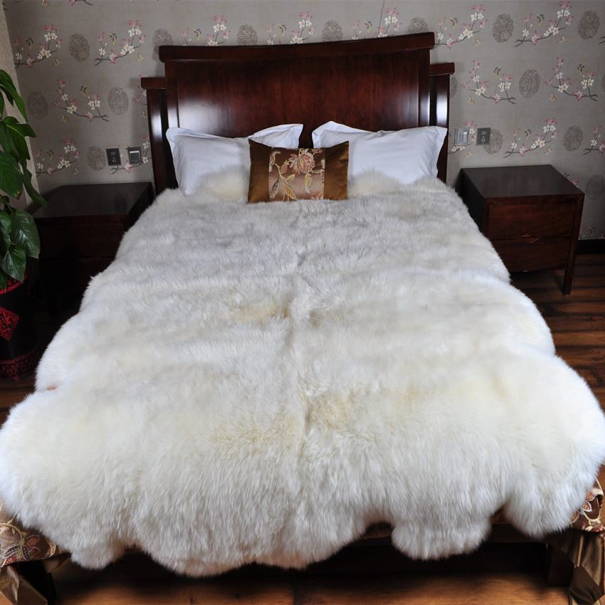 China factory wholesale quarto sixto Octo 4ft x 6ft 6ft x 6ft 6ft x 7.5ft Genuine Sheepskin Rug Real Sheepskin Fur Blanket