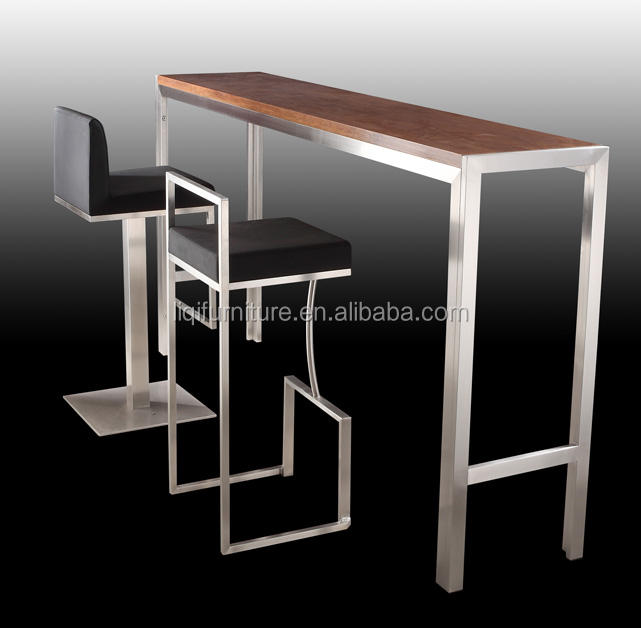high quality brushed stainless steel bar table with tempered top or wood top LQ- BT102