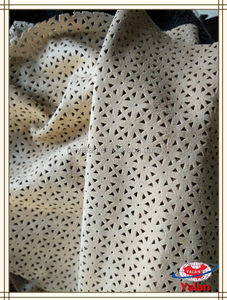 Beautiful flower hole punched elastic/stretch suede fabric for garment/decoration/dress