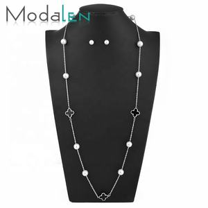 Modalen Stainless Fresh Water Pearl Clover Fashion Jewelry Set Gold Plated