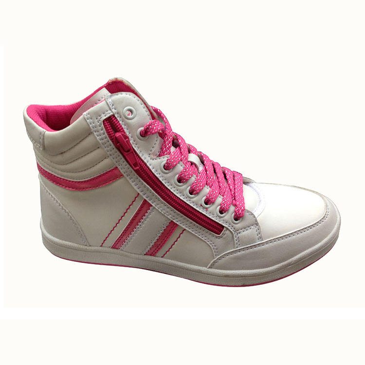 Women skateboard shoes white/pink high top lace up front style,zipper decorating synthetic upper anti-skiding,stability outsole