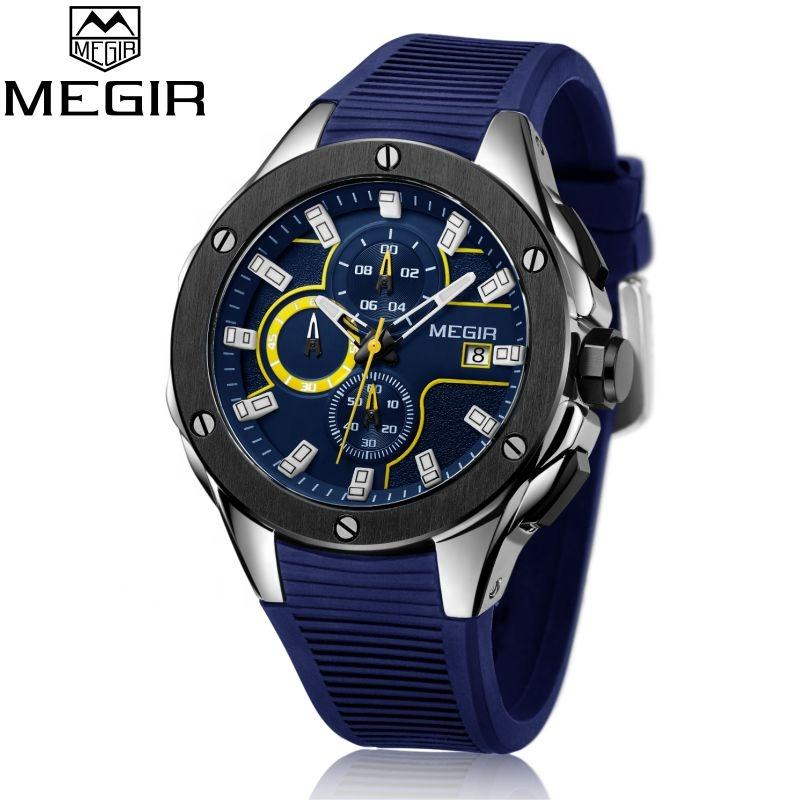 2020 Megir 2053 jam tangan chronograph watch Stainless Steel Back WristWatch Quartz waterproof Sport Silicon Man luxury Watch