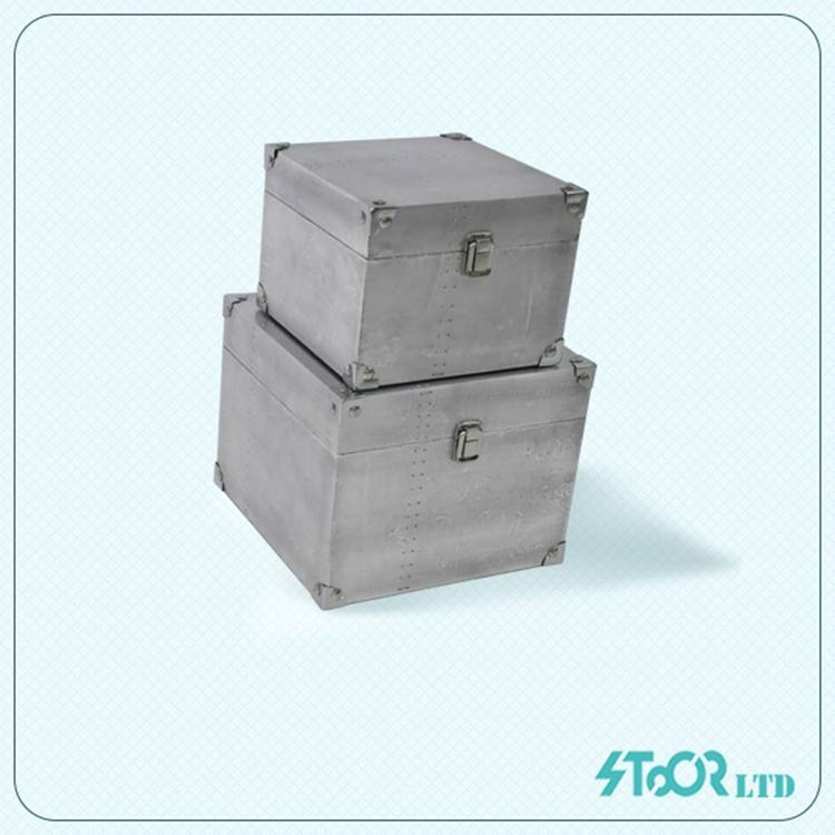Idea de diseño único de hierro cerradura de la vendimia caja de almacenamiento con tapa de metal industrial