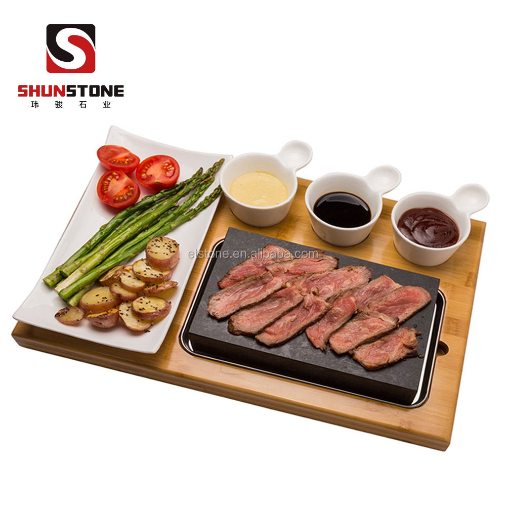 Goedkope Steak Steen En Plaat Set Van 7,Steak Stenen Koken Hot Rock Grill Plaat, Lava Koken Stenen